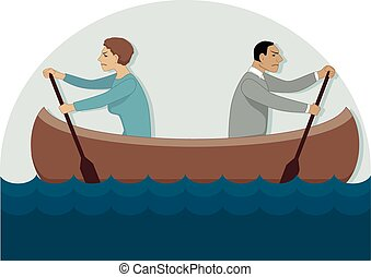 Conflict in the relationship - A couple in a canoe rowing in...