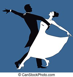 Waltz - Black and white silhouette of a couple dancing...
