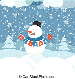 Christmas greeting card with white christmas bauble and snowflak
