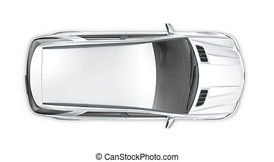 Silver SUV - top view
