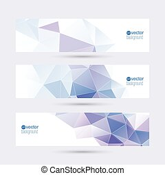 Set of vector banners with triangles and polygon mesh. For...