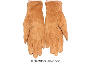 Hand with leather suede gloves. White background