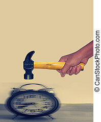 Hammer hitting Alarm Clock with motion blur - Hammer in...