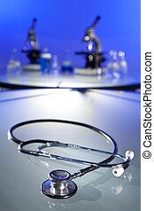 estetoscopio, Microscopios, en, médico,...