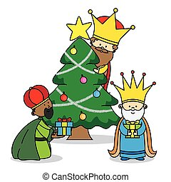 the three kings leaving gifts. Christmas card