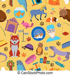 Domestic pets background Pattern Seamless Vector...
