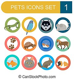 Domestic pets and vet icon set - Domestic pets and vet...