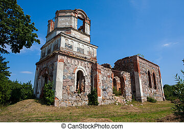 Ruins of Orthodox Holy Transfiguration Church in small town...