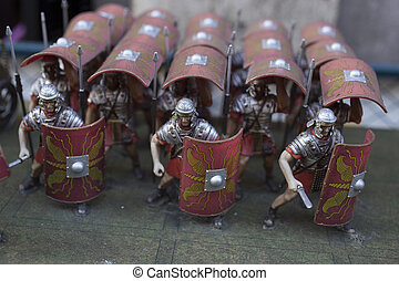 Miniature of roman empire' soldiers in turtle formation