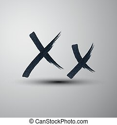 vector calligraphic hand-drawn marker or ink letter X
