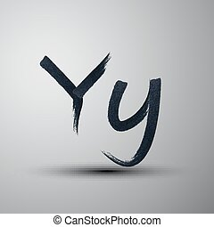 vector calligraphic hand-drawn marker or ink letter Y