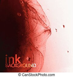 abstract vector background of red fluid ink swirling in water. m