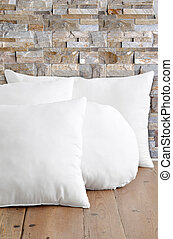 White pillows - Stack of white pillows on old grunge floor