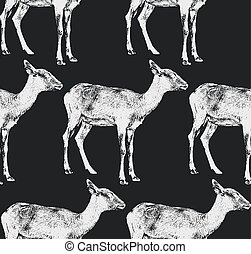 vector illustration of a goat or antelope seamless animal...