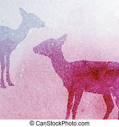 vector vintage illustration of a watercolor goat or antelope...