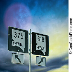 Interstates signs in Nevada, USA