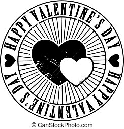 Black and white hearts Valentine holiday grunge stamp
