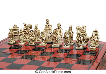 Chess - Figured chess are photographed on the white