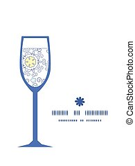 Vector ornamental abstract swirls wine glass silhouette pattern frame
