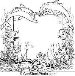 Cartoon marine life - Funny cartoon fish swim. At the bottom...