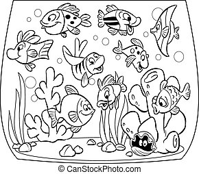 Fishes in aquarium - Funny cartoon fish swim in an aquarium....