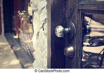door with metal handle