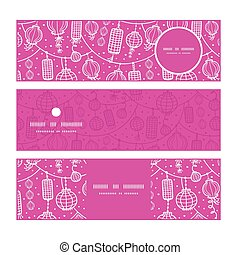 Vector holiday lanterns line art horizontal banners set pattern background