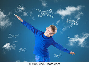 Fly like airplane - Little happy boy trying to fly like an...