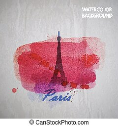 vector watercolor illustration of Paris Eiffel tower on the...