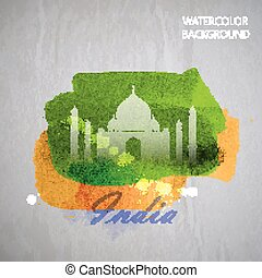 vector watercolor illustration of indian Taj Mahal on the...