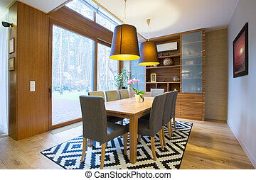 Dining area inside modern house - View of dining area inside...