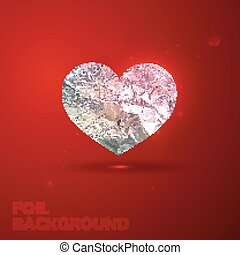 vector illustration of silver heart with foil texture. Valentine