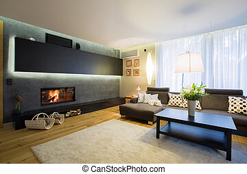 Spacious living room with fireplace in wall