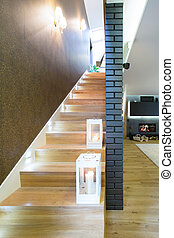 Lamps on stairs - White lamps on lighted wooden stairs