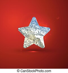 vector shiny illustration of a silver foil star on red vivid bac