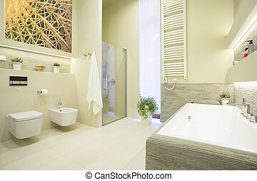 Luxury bathroom in pastel colors - Luxury beauty bathroom in...