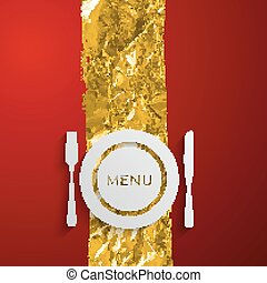 vector illustration of a plate and cutlery on the red and golden