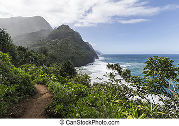 Na Pali Coast Trail Kauai - Ocean view from the Na Pali...