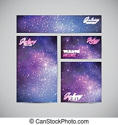 set of vector visual corporate identity with galaxy Milky...
