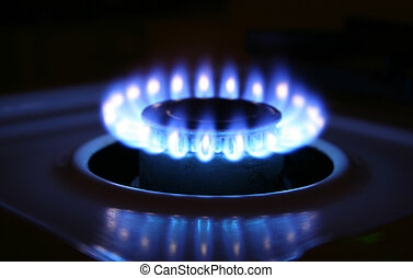 Stove place - Bluish flames of a stove burner in total...