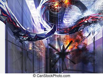 Alien city destruction