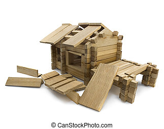 Broken house - Isolated wooden broken toy house view.