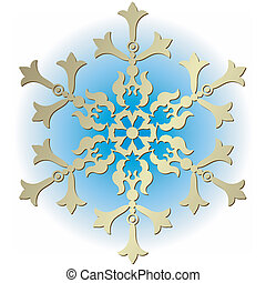 Silvery vintage snowflake on white background (vector)
