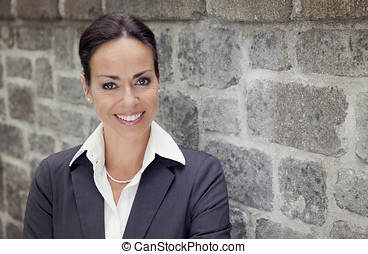 Businesswoman smiling - achievement, adult, arms crossed,...