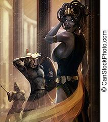 Medusa - Greek monster goddess Medusa posing with stone...