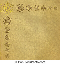 Vintage old paper with snowflakes