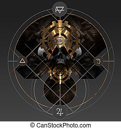 Alchemy gold - Abstract alchemy golden pentacle sign with...