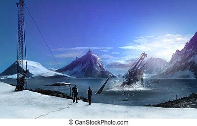 Antarctica - Futuristic Antarctica scenery nature landscape...