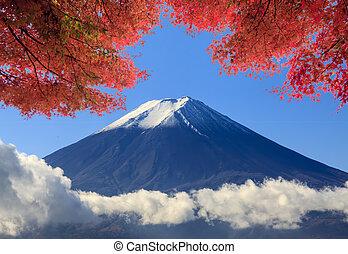 azul, montanha, sagrado, céu,  jap,  Fuji, fundo