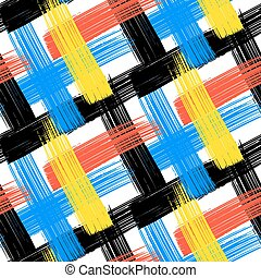 Vector seamless bold plaid pattern with wide brushstrokes...